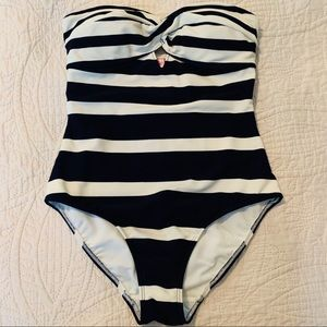 TED BAKER Navy & Cream Stripe Swimsuit